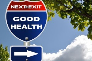 "Road sign with the words ""Good Health"""